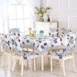 Комплект чехлов на стулья и скатерти на стол для столовой