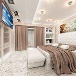 Коричневые шторы в интерьере спальни