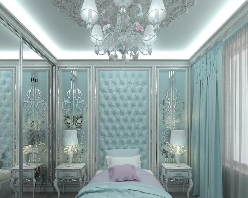 Небольшая спальня в мятных тонах