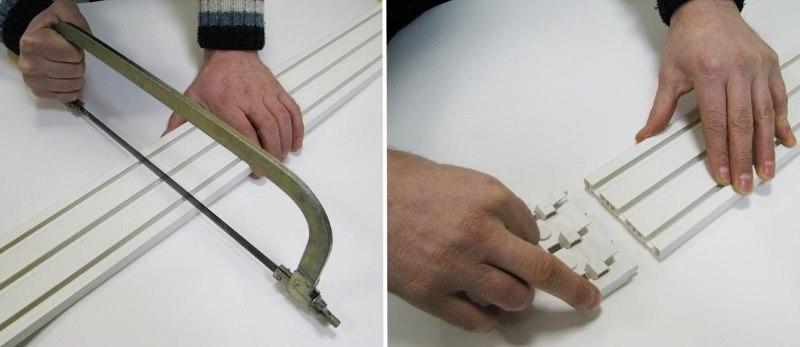 Обрезка потолочной шины пластикового карниза