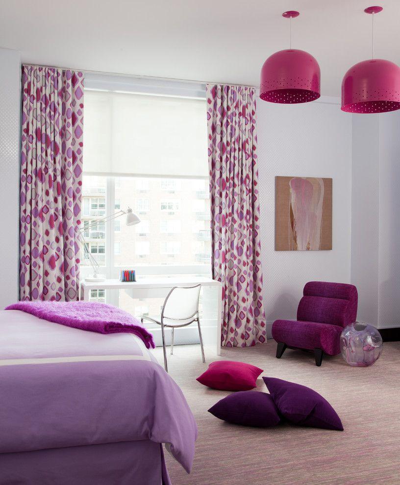 Разные оттенки фиолетового цвета в дизайне одной комнаты