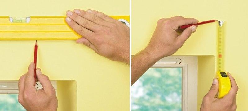 Разметка стены для монтажа алюминиевого карниза
