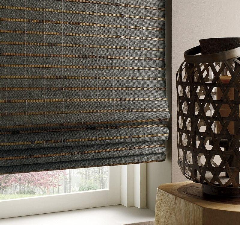Римская штора из плотного материала кофейного тона