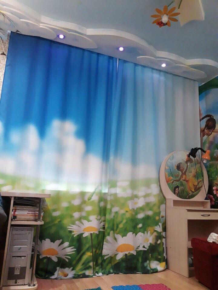 Тюль с фотопечатью в интерьере домашнего кабинета