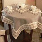 Серая скатерть и салфетки для уютного чаепития