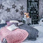 Серый и розовый шерстяные пледы для современной спальни