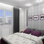 Дизайн небольшой спальни с занавесками серого оттенка