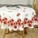 Скатерть с маками для стола круглой формы