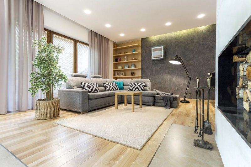 Дизайн гостиной с креплением штор на скрытом карнизе