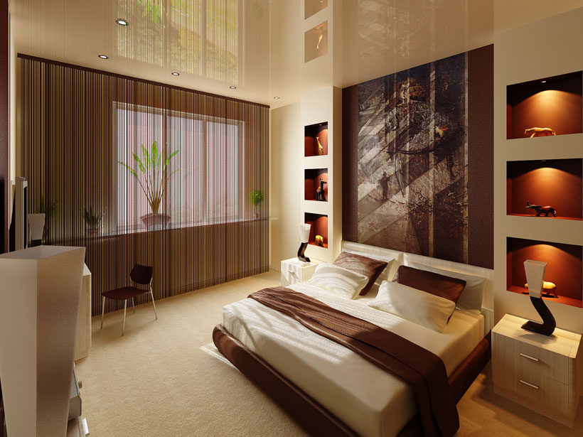 Нитяные шторы на скрытом карнизе в спальне