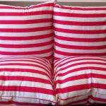 Удобные полосатые подушки для сидения на полу