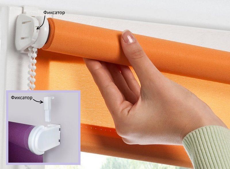 Снятие полотна рулонной шторы для стирки в домашних условиях