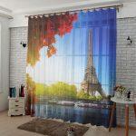 Парижские мотивы на полупрозрачной занавеске