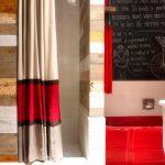 Красная полоса на бежевой шторе