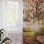 Белый тюль и фотоштора на окне в зале