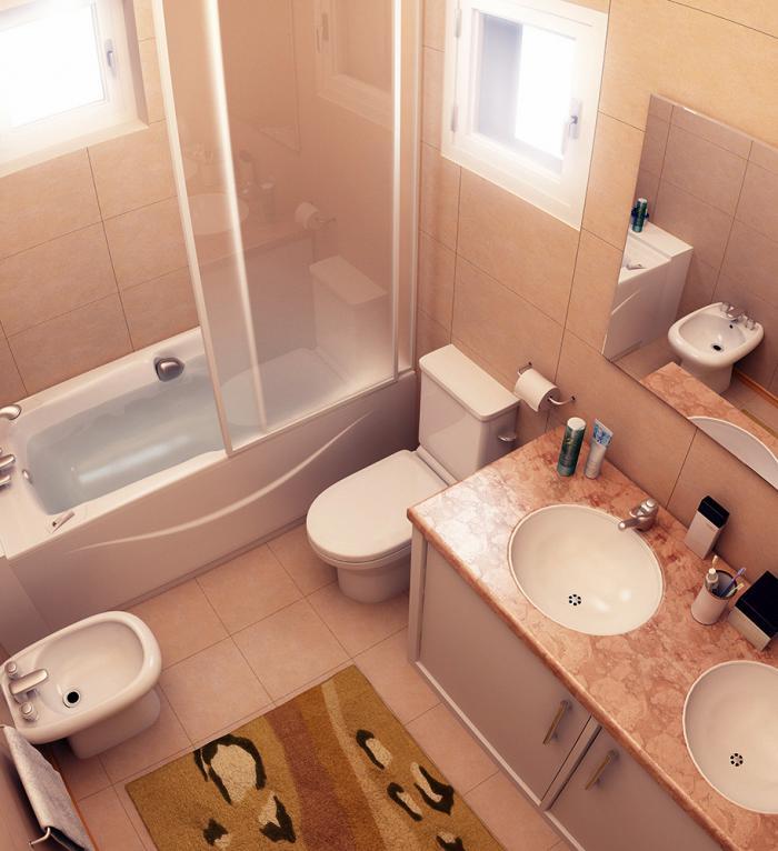Дизайн небольшой ванной комнаты со шторкой