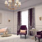 Лиловые шторы дял просторной гостиной с двумя окнами в цвет мебели и текстилю
