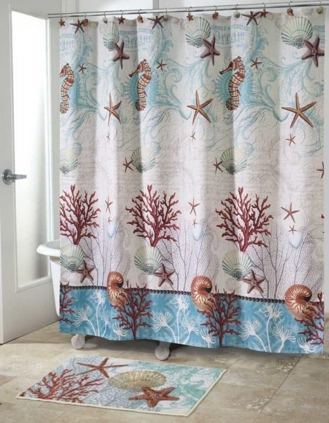 Шторка в ванной с принтом в виде морских обитателей