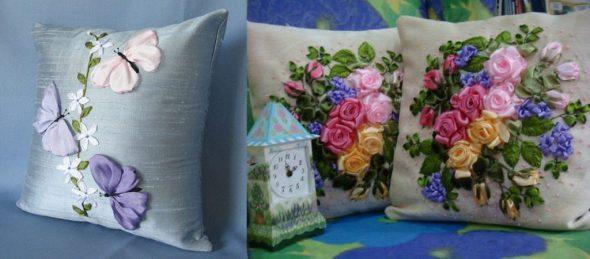 Чехол подушки с вышивкой из лен