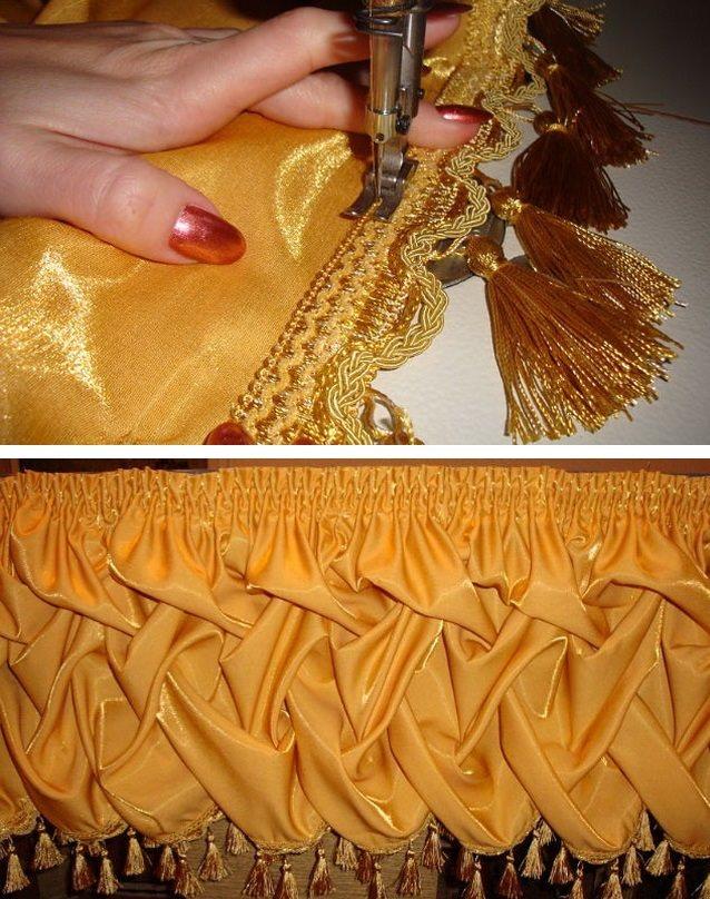 Подшив бахромы с кисточками к изнанке мягкого ламбрекена