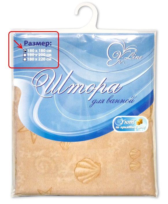 Надпись на упаковке шторы с указанием размеров