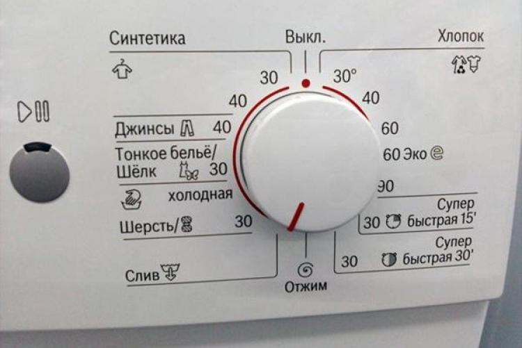 Рукоятка переключения режимов стирки на стиральной машине