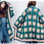 Шикарное пальто с капюшоном из отдельных вязанных квадратиков