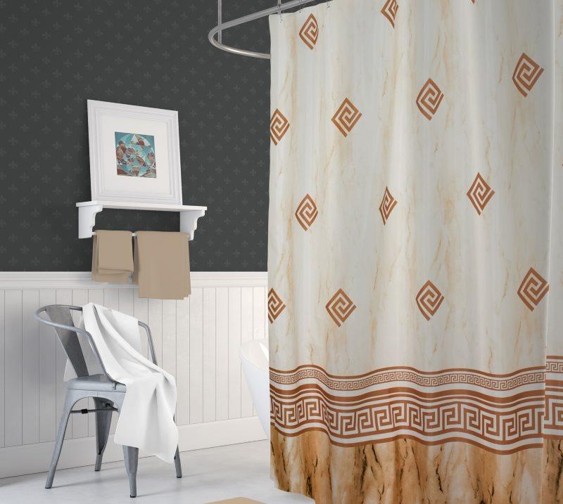 Штора в ванной с орнаментом из синтетической ткани