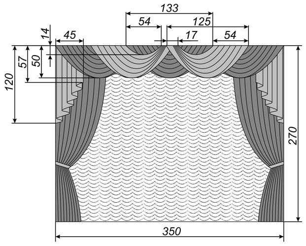 Схема стандартного ламбрекена из ткани двух цветов