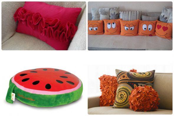 Оригинальные подушки можно сделать своими руками