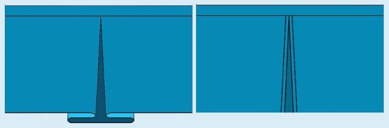 Варианты встречных складок на полотне занавески