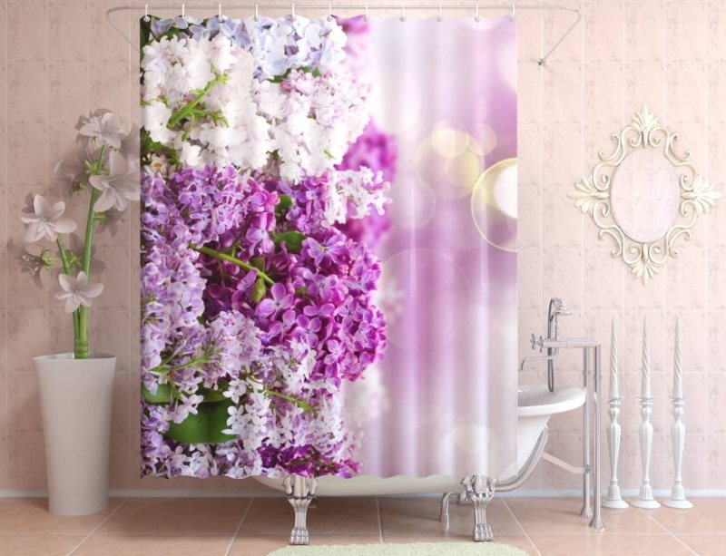 Виниловая шторка с 3D печатью в интерьере ванной комнаты