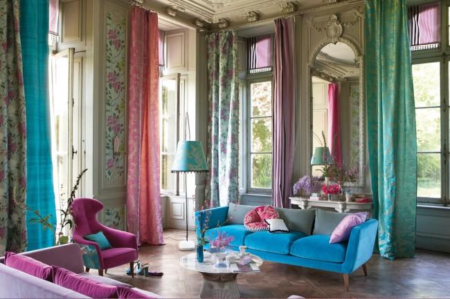длина штор в пол в гостиной
