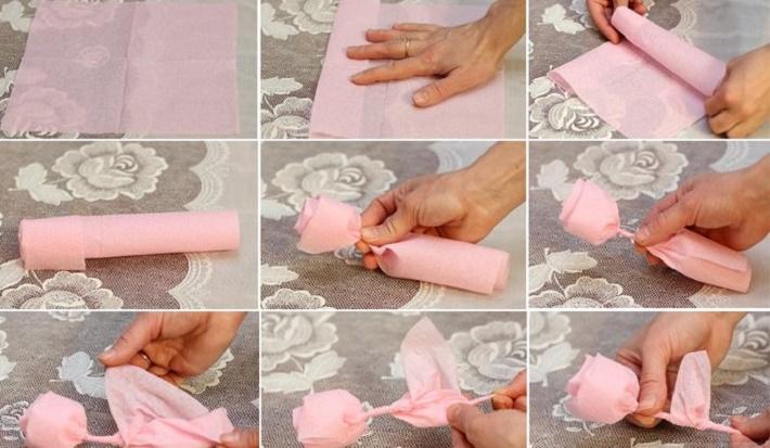 розочки из салфеток своими руками фото вариантов