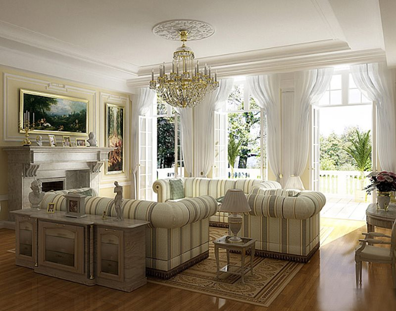 Белые гардины на окнах гостиной в английском стиле