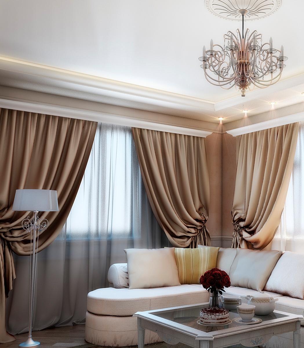 шторы в большой гостиной