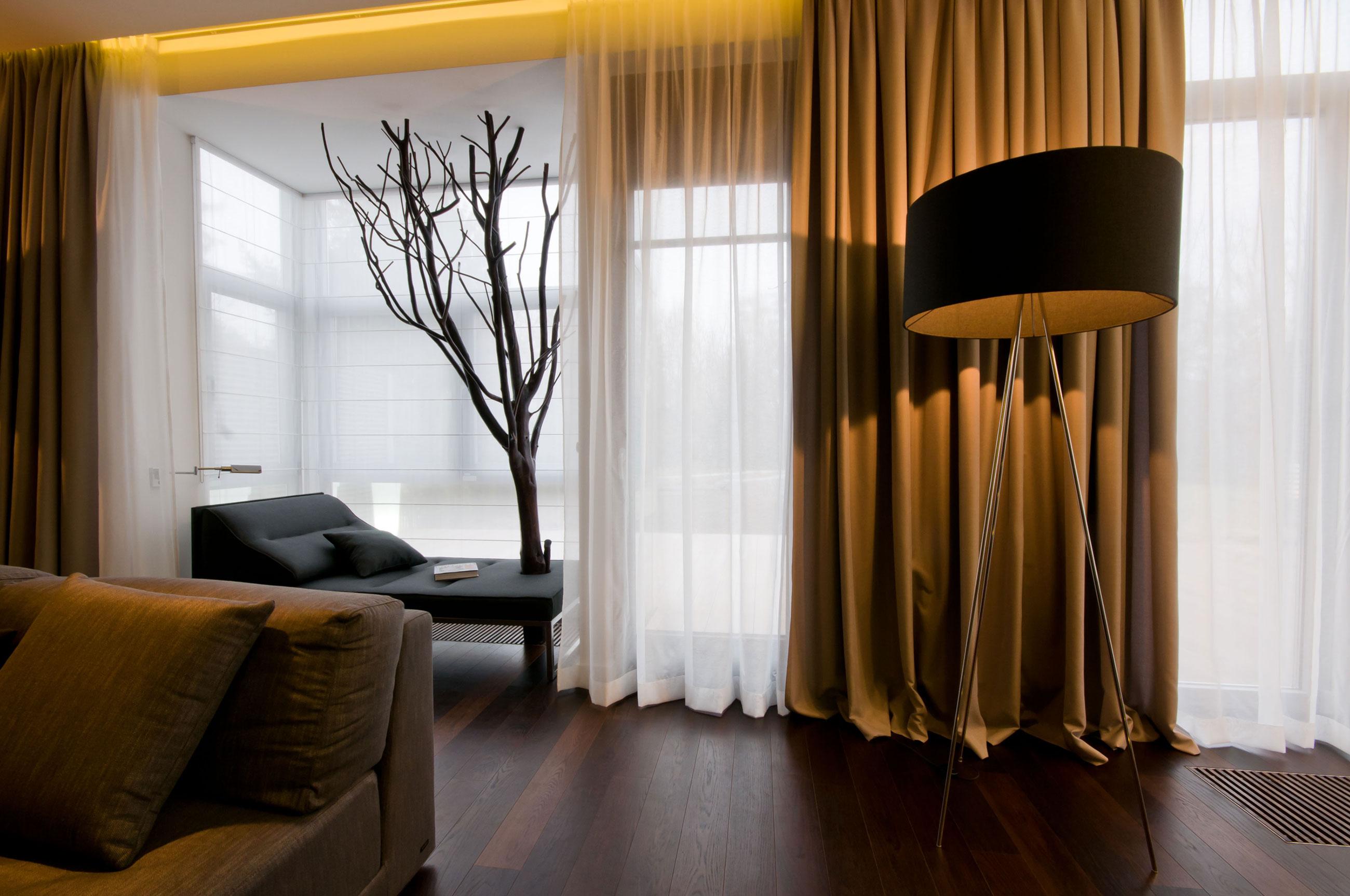 коричневые шторы габардин