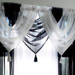 черно белые шторы из вуали