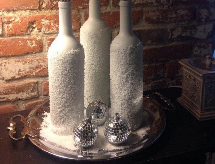декор бутылок солью снаружи