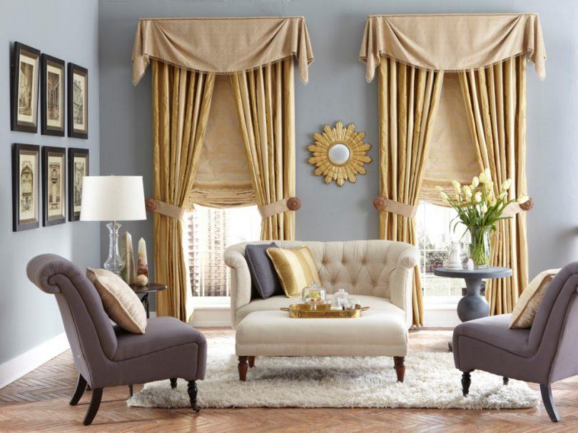 длина штор для гостиной фото интерьер