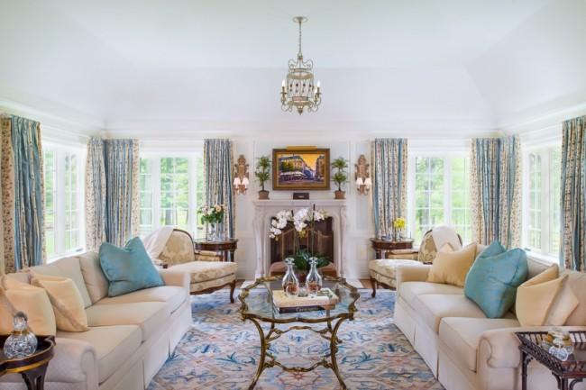 длина штор в интерьере гостиной
