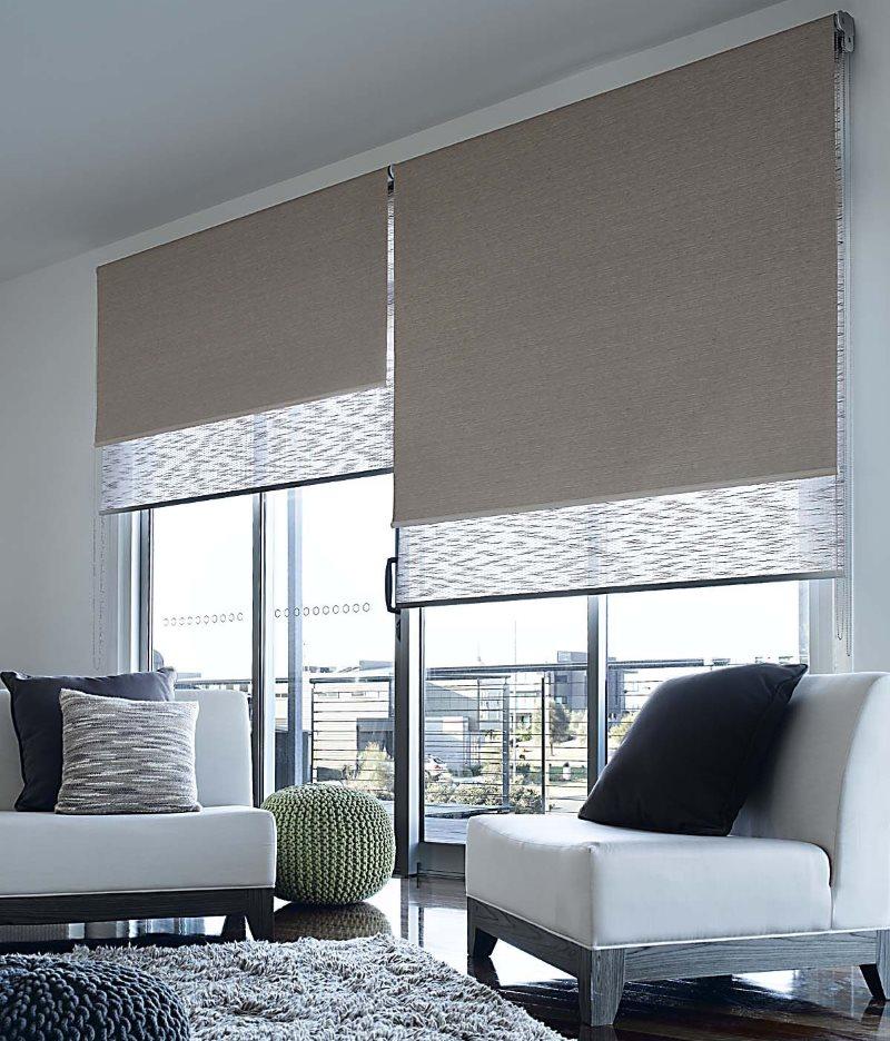 Большое окно гостиной с двойными рулонными шторами