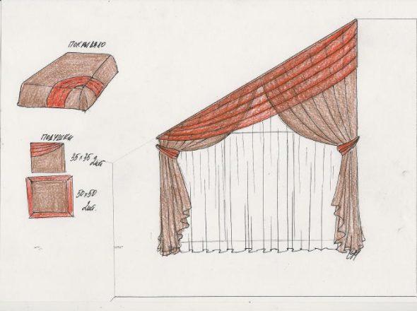 Эскиз штор для окна с наклонным верхом