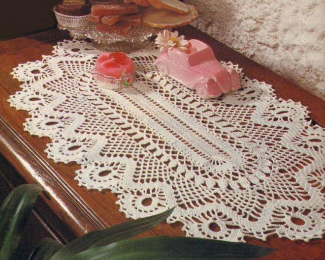 филейная салфетка крючком декор фото