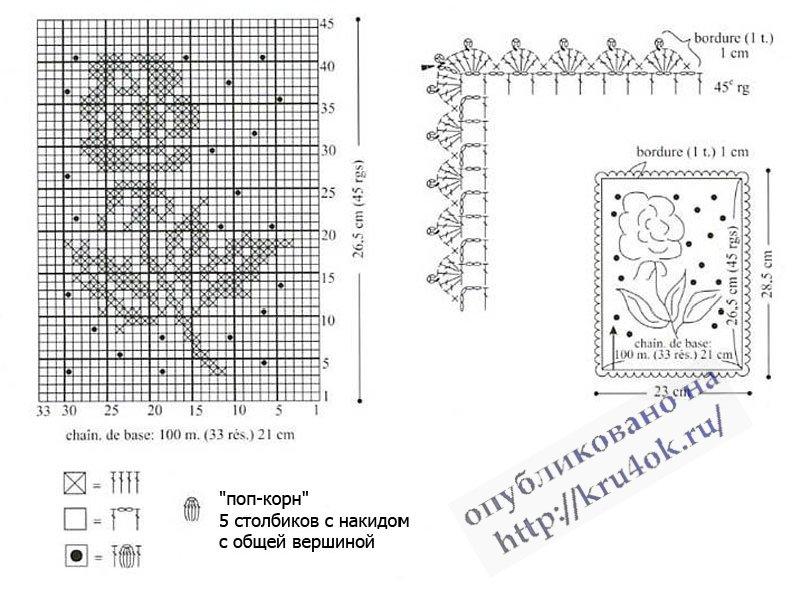 филейная салфетка крючком схема фото