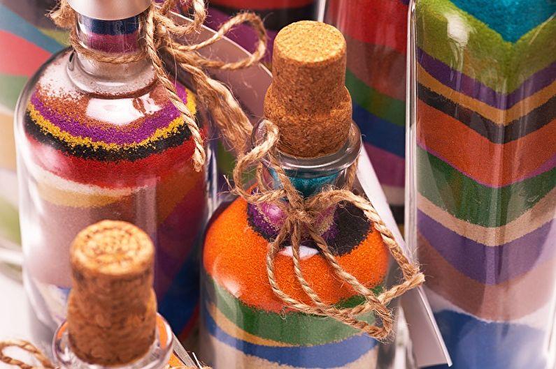 декор бутылок цветной солью