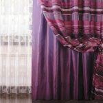 Фиолетовые шторы и белый тюль из вуали