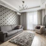 Интерьер гостиной с серых тонах