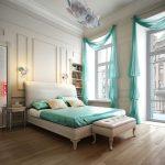 Шторы египетский рукав в интерьере современной спальни
