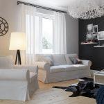 Дизайн гостиной с белыми гардинами